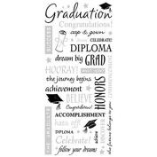 Sandylion Grad. Words with Silver Sticker, 14cm by 30cm , Clear