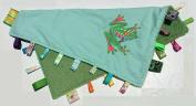 PLUSH FROG ~ Reversible Blanket with Ribbon Tabs