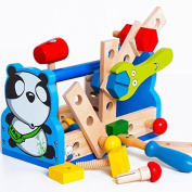Panda Take-Along Tool Kit Wooden Toy Kids Tool Toys Educational Baby Toys