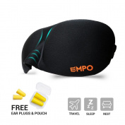 EMPO® Sleep Mask Soft Memory Foam Contoured Eye Mask with Free Ear Plugs - LIFETIME WARRANTY - Sleep Deeply Anywhere Anytime - Two SoftMAX© Adjustable Straps to Fit All Head Sizes - Ultra Lightweight and Comfortable - Allows You to Blink & Breathe Free ..