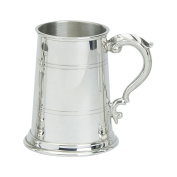 Edwin Blyde & Co 1 Pint Tankard with Solid Metal Base - Two Lined Body with Georgian handle - Polished Finish, Pewter