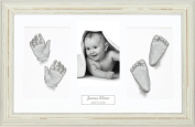BabyRice Large Baby Casting Kit (great for Twins!), 37cm x 22cm Shabby Chic Cream Frame, White mount, Silver metallic paint