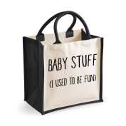 Medium Jute Bag Baby Stuff I Used To Be Fun Black Bag Mothers Day New Mum Birthday Christmas Present Nappy Bag Changing Bag
