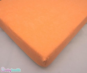 Terry Towelling Fitted Sheet 160 x 70 cm Fits Junior Toodler Bed / Cotbed - ORANGE