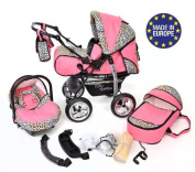 3-in-1 Travel System with Baby Pram, Car Seat, Pushchair & Accessories, Pink & Leopard
