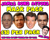 James Bond Actors Mask Pack Novelty Celebrity Face Mask Party Mask Stag Mask