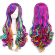 """Wigs 70cm / 28"""" Women's Hair Wig New Fashion Long Big Wavy Hair Heat Resistant Multi Colour Wig for Cosplay Party Costume My Little Pony"""