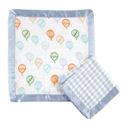 Hudson Baby Double Layer Muslin Security Blanket 2-Pack, Blue Balloons by Hudson Baby