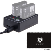 CamKix Dual Pro Charger for GoPro HERO 5 Batteries (AABAT-001) - Quickly Charges up to 2 GoPro HERO 5 Batteries via USB C or Micro USB - Red/Green LED Charging Status Indicators - USB Cable Included