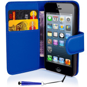 Apple iPhone 4 4S Premium Black PU Leather Flip Wallet Case Cover Pouch With free UK delivery
