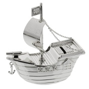 Taufe Geschenke. Silverplated Pirate Ship Money Box [Baby Product] by PLG