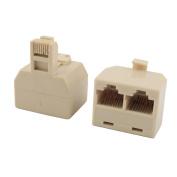sourcingmap® RJ45 8P8C Keystone 1 Male to 2 Female Port Network Cable Connector Splitter 2pcs Beige