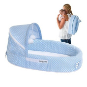 LulyBoo Baby Lounger To Go - Foldable Travel Bassinet - With Canopy, Toy-Bar And Plush Toys (Blue) by LulyBoo