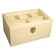 Rayher Hobby 62578000 Height scrignetto with Decorative Lid, FSC Mix Credit, 20 x 13 x 9.5 cm, 5 compartments in the lid