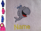 Childs Hooded Bath Robe with a WHALE Logo and Name of your choice in Royal Blue. Ages 2, 4, 6, 8, 10 or 12