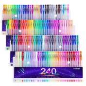 Tanmit 240 Colour Gel Pens Large Set for Adult Colouring Books, Writing, Kid Drawing 120 Unique Coloured Gel Pen + 120 Ink Refills Environmental Friendly