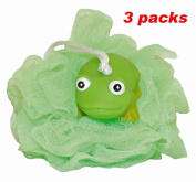 Waddlers Rubber Ducks Family-3 Pack Green Hoppy Frog Bath Shower Scrunchie Mesh Ball Loofah-rubber Ducky Series Children Bath Tub Shower Tool N Toy-deluxe Bath Gift Set