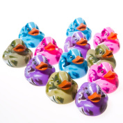 Lot Of 12 Assorted Colour Camouflage Rubber Ducks Duckies