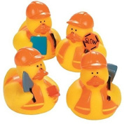 One Dozen (12) Construction Worker Rubber Ducky Party Favours