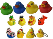 Waddlers Land & Sea Gift Pack of 12, 8 Themed Different Mini Rubber Ducky and Friend Keychains and 4 Different Colour Kid's Palm Size Little Rubber Duckies Gift Pack
