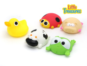 Deluxe Baby bath toy set for  .   toddlers fun bathtub toy set with cow, piggy, duck, frog and lady bug characters friends