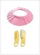BuyHere Baby Kid Safe Shampoo Protect Pink Hat with Brush and Comb Set