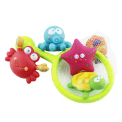 Rainbowkid Baby Bath Water Toy with turtles,starfish, octopus,clownfish,for baby Fish, Puzzle boxed Duck Toddler Soft Toys Bathtime Fishing Set for 3-48 months old baby using