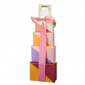 OhMyBasket Rectangular Girls Baby Shower Gift Tower, Great for New Mom and Baby.