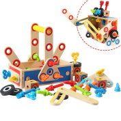 Baby Toys Disassembly Assembly Carpenter Tool Box Nut Combination Wooden Toy Child Intelligence Educational Garden Tool Toys Christmas/Birthday Gift