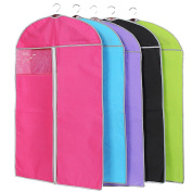 Butterme 6 Pcs Breathable Non-woven Clothes Dust Cover Dust Bag Garment Storage Bags with Clear Window for Suit Carriers, Dresses, Linens, Storage or Travel Colour Random
