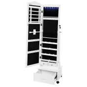Songmics Jewellery Cabinet with LED Light & Wheels Carving Design Lockable White JBC61W