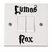 'Lumos Nox On & Off' funny light switch decal graphic sticker (BLACK) by Vinylworld