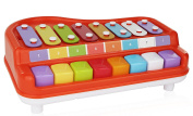 2 In 1 Xylophone for Kids, For your Mini Musician / Piano / Casio Musical Toy, Bright Multi-Coloured Keys, Instrument for Babies, Toddlers and Preschoolers, With Music Cards Songbook