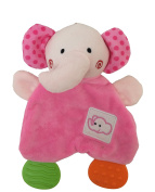 Pink and Green Elephant Security Blanket with Rattle and Teething Toy