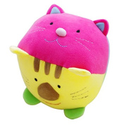 Yoovi Soft Stuffed Baby Chime Ball Plush with Four Cute Animal Faces Baby Rattle Toy