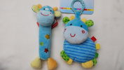 My First Toys - Baby Blue Giraffe Rattle Toy and Baby Blue Giraffe with Rattle Stroller Toy Car Seat Toy Take Along Toy - 2 Pcs / Set