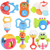 Acefun Baby Rattle and Teether Toys (10-Piece) with Storage Baby Bottle