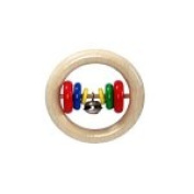 Hess Wooden Baby Toy Round Rattle with 6 Discs and Bells