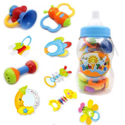 Baby's First Rattle and Teether Toy 9 Pieces with Giant Baby Bottle Coin Bank Gift Sets- Colours May Vary