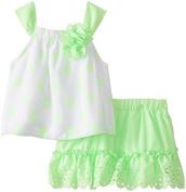 Little Lass Baby Girls' Chiffon Dot Top with Skirt Set by Little Lass