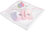 Spasilk 100% Cotton Hooded Terry Bath Towel with 4 Washcloths, Pink by Spasilk