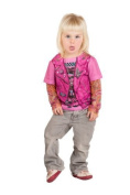 Toddler Pink Biker Girl Tattoo Costume Shirt by Faux Real