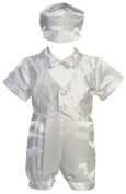 White Satin Christening Baptism Romper with Vest and Matching Hat by Lito