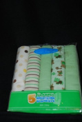 Bon Bebe Flannel Receiving Blankets, Animal, Polka Dots, Stripes, Solid Greens - Pack of 5 by Bon Bebe