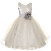 Kids Dream Silver Sequin Double Mesh Flower Dress Baby Girls 18M by Kids Dream