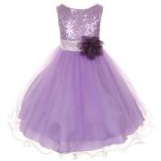 Kids Dream Lavender Sequin Double Mesh Flower Dress Baby Girls 12M by Kids Dream
