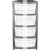 CrazyGadget® Plastic Large Tower Storage Drawers Chest Unit with Wheels - MADE IN U.K.