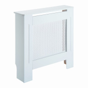 HOMCOM Wooden Radiator Cover Heating Cabinet Modern Home Furniture Grill Style Diamond Design White Painted