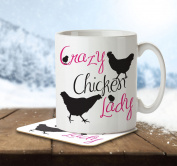 Crazy Chicken Lady - Mug and Coaster By Inky Penguin
