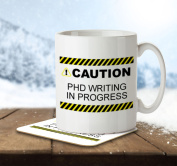 Caution! PHD Writing in Progress - Mug and Coaster By Inky Penguin